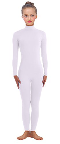 VSVO Kids White Long-Sleeve Unitard (Medium, White) (Dance Revolution Dance Costumes)