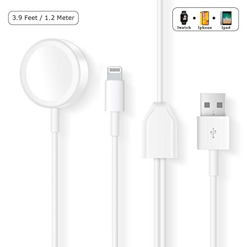 Compatible with iWatch Charger, 2 in 1 iPhone Apple Watch Charger Portable Cable Compatible with for Apple Watch Series 4/3/2/1/iPhoneXR/XS/XS Max/X/8/8Plus/7/7Plus/6/6Plus/iPad4/Air/Mini/Airpods