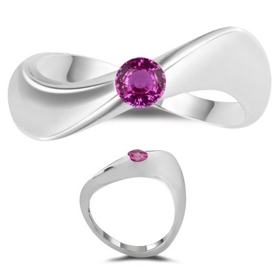 0.30 Ct 4 mm AA Round Pink Sapphire Solitaire Wave Ring-14K White ()