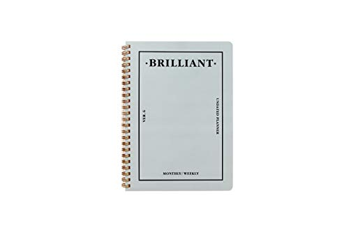- PAPERIAN Brilliant Monthly & Weekly Planner - Wirebound Undated Monthly &Weekly Planner Book Scheduler Diary (Grey Sky)