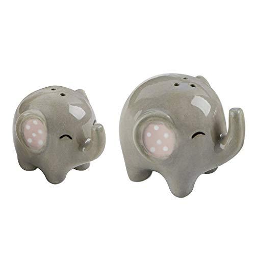 (SM SunniMix Ceramic Cruet Spice Jar, Elephant Cute Salt and Pepper Shaker Spice Container Wedding Decor Souvenirs, Home Kitchen Accessories - 2pcs)