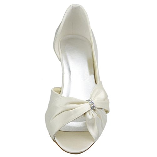 Kevin Fashion mz1209 Ladies Lazo satinado novia boda formal fiesta noche Prom sandalias, color Beige, talla 43 EU