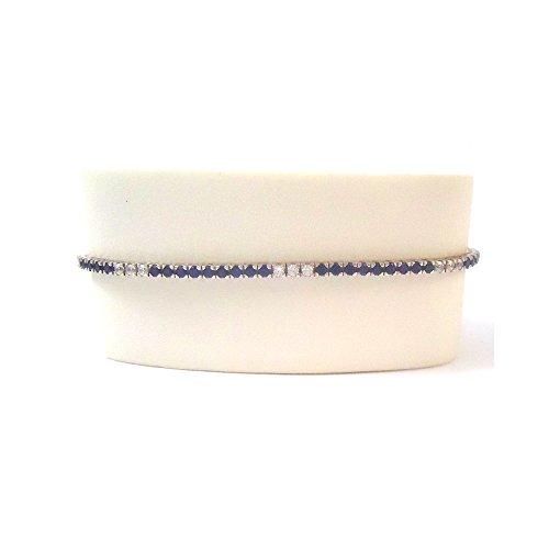 BRACELET TENNIS en or blanc 18 carats avec ZIRCONS blancs et bleus - Oro bianco