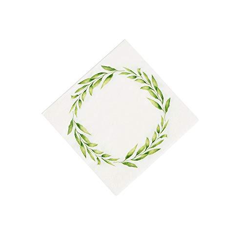 - Fun Express - Greenery Beverage Napkins (16pc) for Wedding - Party Supplies - Print Tableware - Print Napkins - Wedding - 16 Pieces