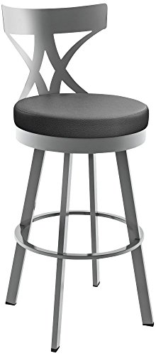 (Amisco Washington Swivel Counter Stool in Glossy Grey Finish)