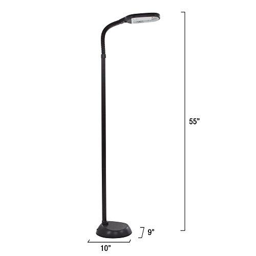 Lavish Home (72-0890) 5 Feet Sunlight Floor Lamp With Adjustable Gooseneck - Black
