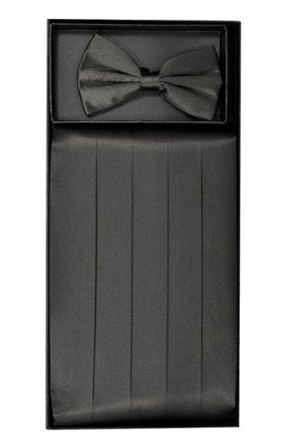 Classy Charcoal Grey SILK Cummerbund and Bow Tie Set with Box