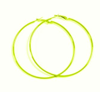 NEON OPTIC LIME YELLOW Hoop Earrings 50mm Circle Size - Bright Flourescent, Vibrant Colors