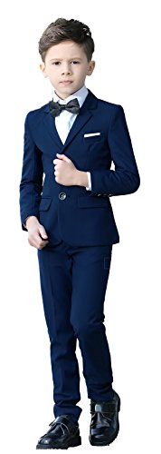 YuanLu Boys Colorful Formal Suits 5 Piece Slim Fit Dresswear Suit Set (Blue, 10) - Kids 3 Piece Outfit