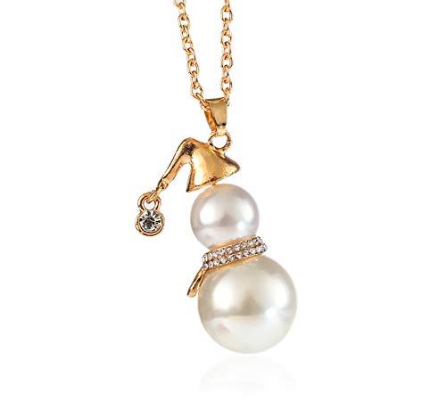 Topsair Elegant Minimalist Christmas Snowman Shape Faux Pearl Pendant Adjustable Sweater Necklace, Christmas Necklace