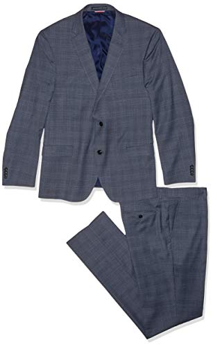 Tommy Hilfiger Men's Slim Fit Performance Suit with Stretch, Light Blue Plaid, 42R