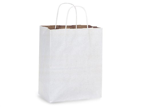 Pack Of 250, White Fusion Recycled Kraft Paper Bags W/Brown Inside - Cub 8 X 4.75 X 10'' Solid Made In USA by Generic