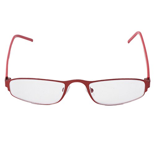 Magicub Unisex Stainless Steel Frame Resin Reading Glasses Presbyopia Eyeglass Red - Eyeglass Frames Stainless Steel