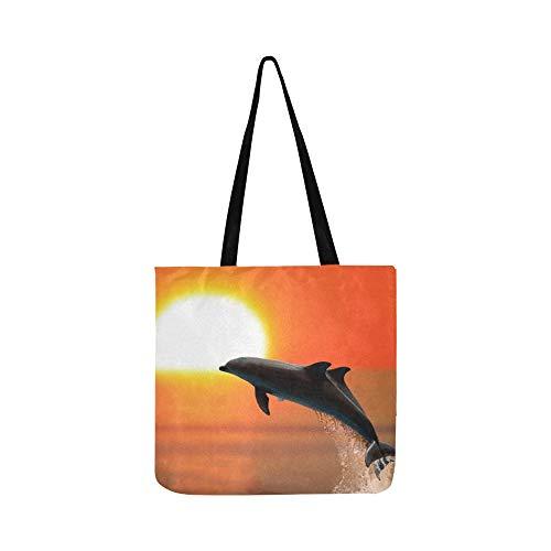 Toile Stock Sunset Pour À Sacs En Tote Main Shopping Et Photo Two Bandoulière Dolphins Sac Femmes Hommes Swimming H0EywF1qt