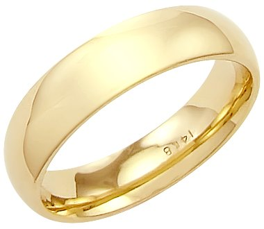 14k Solid Yellow Gold Plain Dome Wedding Heavy Ring Band 4mm Size