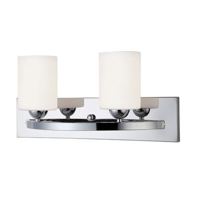 Canarm LTD IVL370A02CH-O Hampton 2 Light Vanity, Chrome with Flat Opal Glass