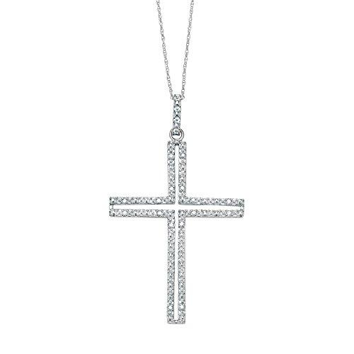 Genuine Diamond Sterling Silver Cross - Platinum over Sterling Silver Round Genuine Diamond Cross Pendant (.11 cttw, HI Color, I3 Clarity)