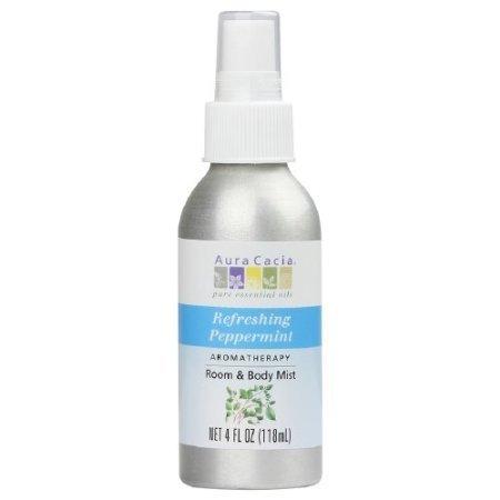 Refreshing Aromatherapy - Aura Cacia Aromatherapy Room & Body Mist, Refreshing Peppermint 4 fl oz (118 ml)