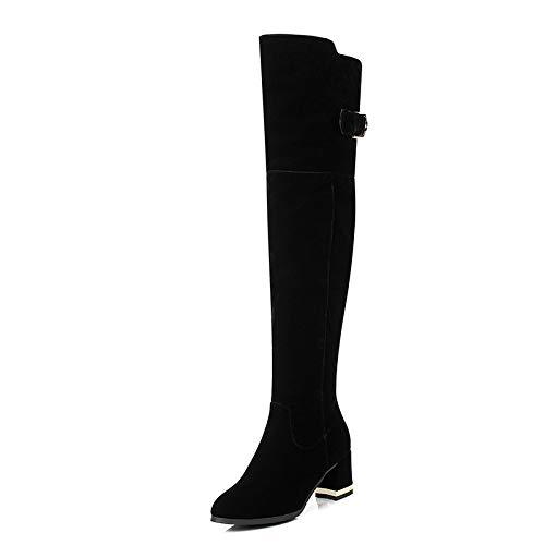 HOESCZS 2019 Frauen Overknee Hohe Stiefel Elegante Elegante Elegante Spitzschuh Alle Spiel Winterstiefel Frauen Schuhe Quadratische Ferse Stiefel Größe 34-43 44020d