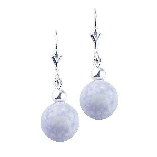 CdJ Sterling Silver Fleur De Lis Drop Earrings featuring Natural Lavander Jade Jadeite Beads by Casa del Jade