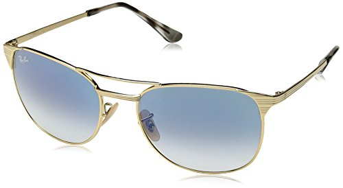 Ray-Ban Men's Metal Man Sunglass Square, Gold Frame/Gradient Blue Lenses, 58 mm