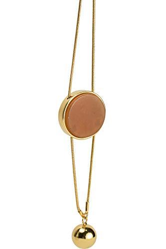 (DooRemi 18K Gold Plated Genuine Red Aventurine Gemstone Round Pendant Necklace for Women)