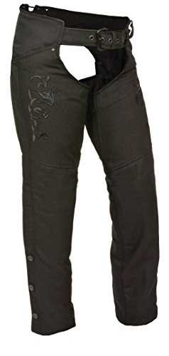 Milwaukee Leather Nylon Womens Chaps Womens Textile Chap Tribal Embroidery / Reflective Detail - Large - Black by Milwaukee Leather