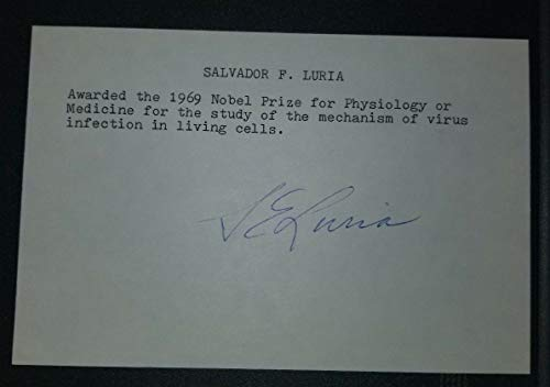 """""""Nobel Prize in Medicine"""" Salvador Luria Hand Signed Card JG Autographs W/COA from Unknown"""