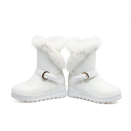 YE Damen Flache Ankle Boots Plateau Stiefeletten mit Fell und Schnalle Bequem Warm Schuhe Weiß