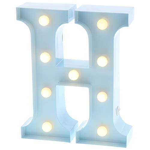 """Barnyard Designs Metal Marquee Letter H Light Up Wall Initial Nursery Letter, Home and Event Decoration 9"""" (Baby Blue)"""
