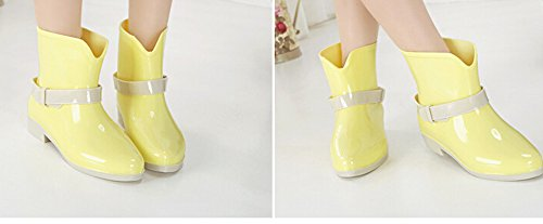 KISS GOLD(TM) Girlish Candy Color Soft Rubber Ankle Rain Boots Yellow TJc5fRe