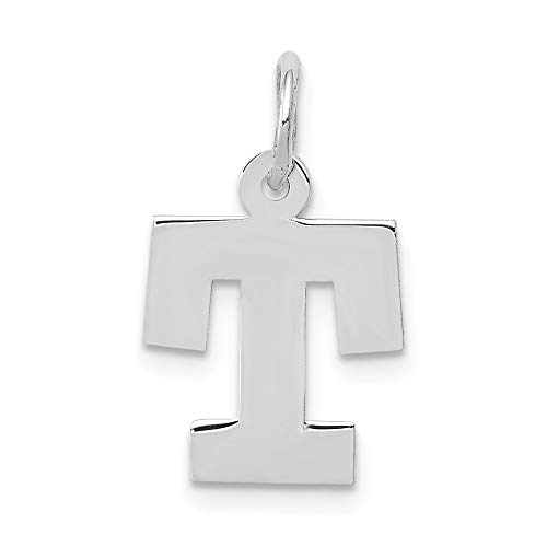 Jewelry Pendants & Charms Themed Charms 14k White Gold Small Block Initial T Charm