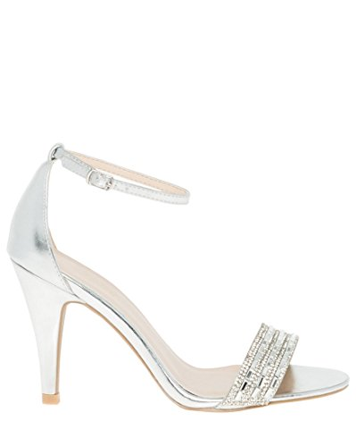LE CHÂTEAU Women's Embellished Leather-Like Ankle Strap Sandal,5,Silver by LE CHÂTEAU