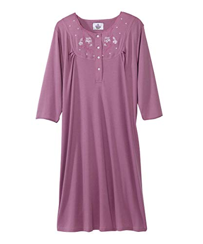 Silverts Disabled Elderly Needs Womens Adaptive Cotton Knit Hospital Gown Assisted Dressing - Carnation MED