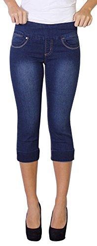 LOLA Women's Michelle Pull On Stretch Denim Capri Jeans M...