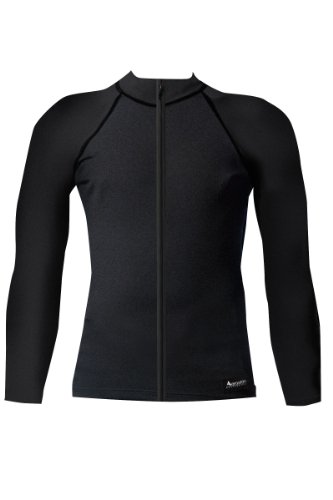 Aeroskin Nylon Long Sleeve Rash Guard with Color Accents and Front Zip (Black, Medium)