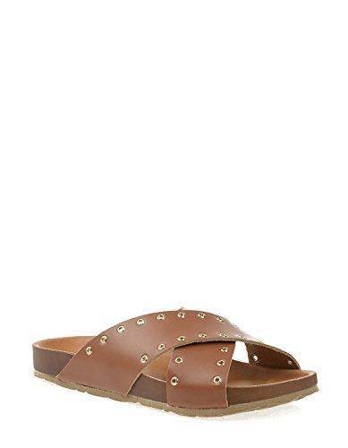 PIECES Cognac Leather Sandal with Studs Brown