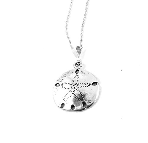 Smooth Sand Dollar Necklace Sterling Silver Ocean Beach Jewelry Nautical Sea Shore (18 - House Sea Silver