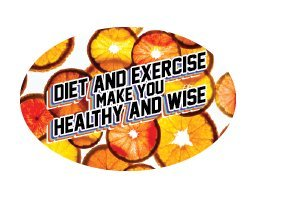 3'' x 2'' Big Oval Nutrition Stickers ''Be Healthy and Wise With Diet and Exercise'' With Orange Coins