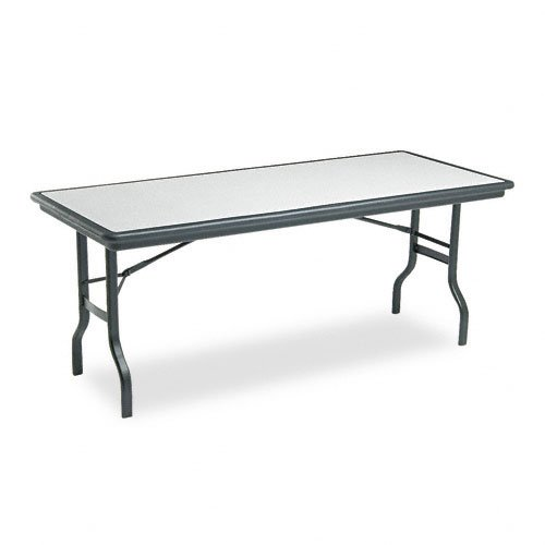 Iceberg ICE65127 IndestrucTable Folding Table with Black Legs and Top, Steel Reinforced Blow-Molded Plastic, 1500 lbs Load Capacity, 72