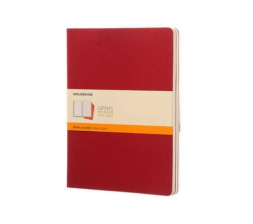 Moleskine Cahier Journal (Set of 3), Extra Large, Ruled, Cranberry Red, Soft Cover (7.5 x 10)