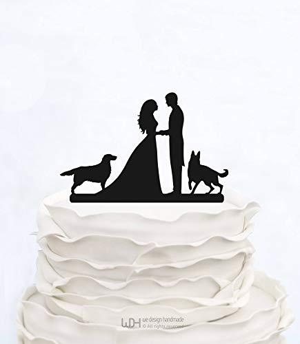 Wedding Cake Topper With two Dogs_Custom Cake Topper_elegant cake topper_Bride And Groom Couple Silhouette_wedding graphics personalized