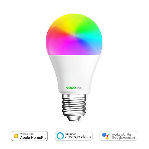 VOCOlinc Smart Wi-Fi LED Light Bulb, Dimmable, Multicolor, Lighting Effects, Works with Apple HomeKit, Alexa, Google Assistant Compatible, No Hub Required, A19 E26, Wi-Fi 2.4GHz, L1 (1 Pack)