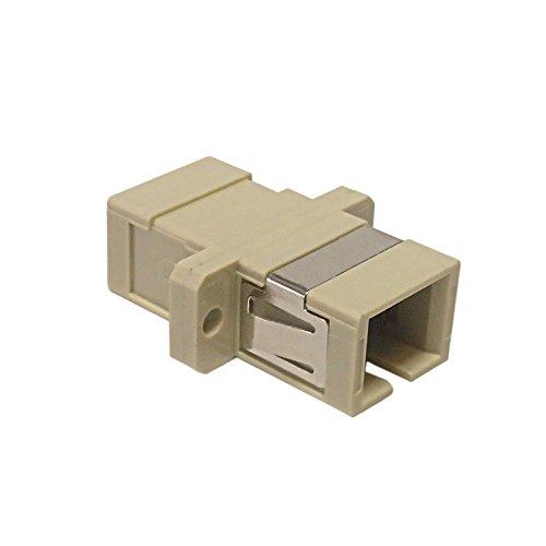 SC/SC fiber coupler F/F multimode 62.5 micron simplex ceramic panelmount, beige