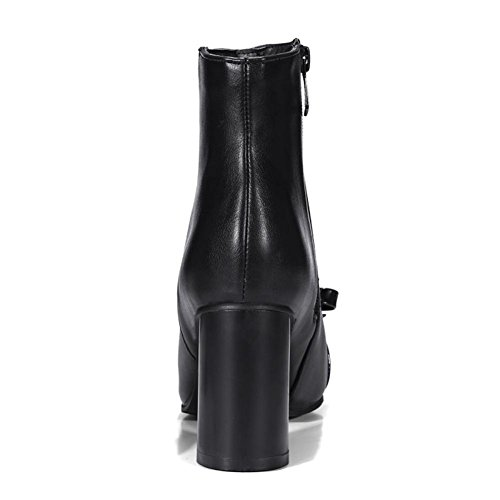 Square Bow Boots Heel NVXIE Fall Suede Work Short head PU Black Rough Brown EUR36UK354 Artificial Women's Party Ladies Winter tie High Ytwt70q