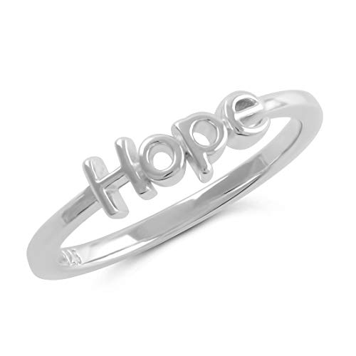 Sterling Silver Bold Stackable Hope Ring -