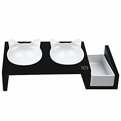 ViviPet Cat Dining Table - 15° Tilted Platform Pet Feeder_ Solid Pine Stand with Ceramic Bowls - Elevated Cat feeder Raised Cat Bowl Mykonos Collection by ViviPet