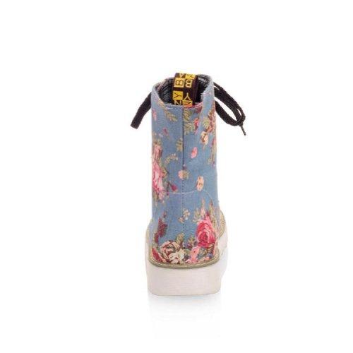 Charme Pied Mode Floral Femmes Bas Talon Haut Haut Bottes Chaussures Ciel Bleu