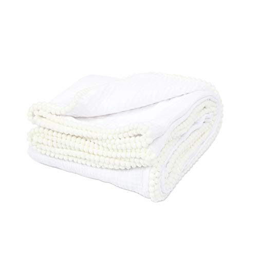 TILLYOU 2-Layer Muslin Swaddle Blanket with Pom Pom Trim, Unisex Cotton Baby Blanket for Cribs or Toddler Bed, Breathable Lightweight and Super Soft Stroller Blanket, White, 44x44