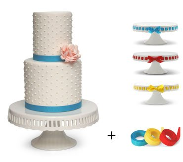 Pedestal Footed Cake Stand with Interchangeable Ribbon Trim (Includes 3 Grosgrain Ribbons) - Perfect for Wedding Cakes Baby Showers Birthdays, 10-inch Round
